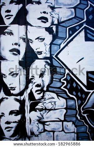 MELBOURNE, AUSTRALIA - MARCH 20 2014: Street art by unidentified artist. Melbourne's graffiti management plan recognises the importance of street art in a vibrant urban culture - stock photo