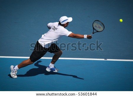 MELBOURNE, AUSTRALIA - MARCH 7: Tsung-Hua Yang of Chinese Taipei in his loss to Peter Luczak of Australia in their Davis Cup tie on March 7, 2010 in Melbourne, Australia - stock photo