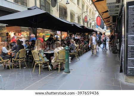 MELBOURNE AUSTRALIA - MARCH 26, 2016:Unidentified people dine at Degraves street in downtown Melbourne. - stock photo