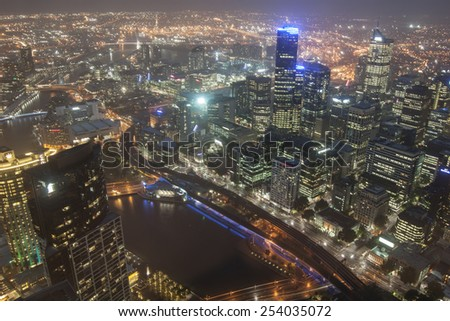 MELBOURNE, AUSTRALIA -NOV 22: Melbourne CBD night panorama from Eureka Skydeck 88 on November 22, 2011, Melbourne, Australia. Eureka Skydeck is the highest point of the city and offers a nice night view. - stock photo