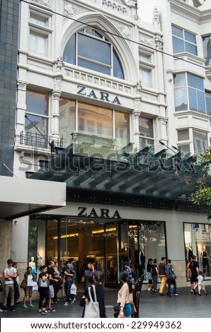 MELBOURNE, AUSTRALIA - November 2014 - Bourke Street store of Spanish clothing retailer Zara.  Zara has over 6500 stores worldwide.