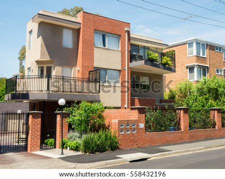 Melbourne, Australia - October 24, 2016: modern apartment building in Evansdale Road in Hawthorn. This development is close to Hawthorn Station.