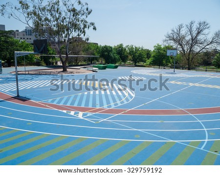 Melbourne, Australia - October 9, 2015: sporting and recreation facilities in the Box Hill Gardens, a large suburban park in Box Hill in the eastern suburbs of Melbourne.