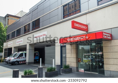MELBOURNE, AUSTRALIA - October 26, 2014: St Vincent's Hospital in the suburb of Fitzroy was founded in 1893.
