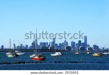 Melbourne, Australia, on a clear summer day, viewed from Williamstown. - stock photo