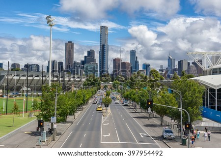 Melbourne, Australia on 24th Jan 2016: The Olympic Park was a outdoor stadium complex on Olympic Boulevard in inner Melbourne. The Park was built as an athletics training venue for the 1956 Olympics, - stock photo