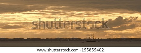MELBOURNE, AUSTRALIA - SEPTEMBER 14, 2013: Nelson tall ship in Port Phillip bay moored at Mornington Peninsula on September 14, 2013 in Victoria, Australia. Lord Nelson finished Parade of Sale - stock photo