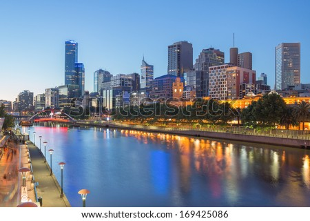 Melbourne city and the Yarra river at night - stock photo