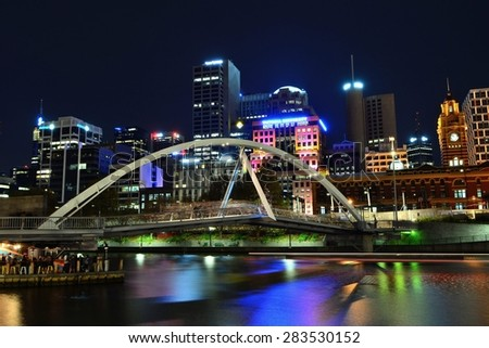 Melbourne city and the Yarra river nightscape - stock photo