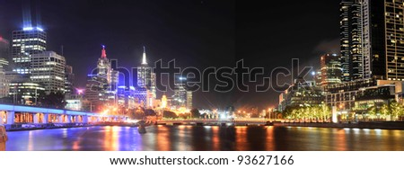 Melbourne city by night - Victoria - Australia - stock photo