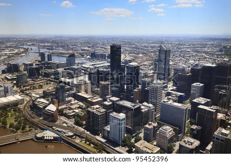 Melbourne city cbd aerial view from Eureka skyscraper day time with blue sky - stock photo