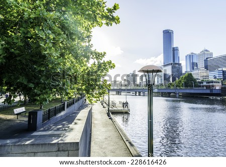 Melbourne city in Australia - stock photo