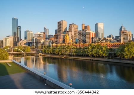 Melbourne city in the morning sunrise, Victoria state, Australia. - stock photo