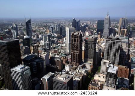 Melbourne city panorama - stock photo