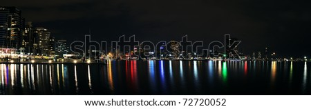 Melbourne city skyline at night - stock photo