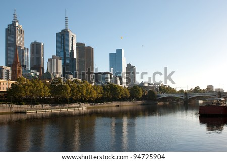 Melbourne City Skyline with Hot Air Balloons - stock photo