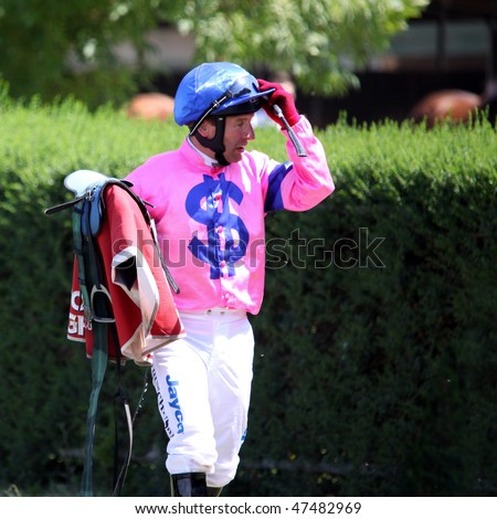MELBOURNE - FEBRUARY 21: Jockey Peter Hutchinson after the Winelist Australia Plate at Yarra Glen on February 21, 2010 near Melbourne, Australia.