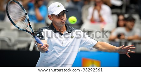 MELBOURNE - JANUARY 17: Andy Roddick in his first round win over Robin Haase at the 2012 Australian Open on January 17, 2012 in Melbourne, Australia. - stock photo