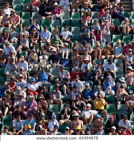 MELBOURNE - JANUARY 20: Crowd in Margaret Court Arena in the 2011 Australian Open - January 20, 2011 in Melbourne - stock photo