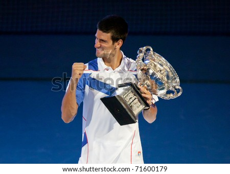 MELBOURNE - JANUARY 30: Novak Djokovic of Serbia wins the 2011 Australian Open final on January 30, 2011 in Melbourne, Australia. - stock photo