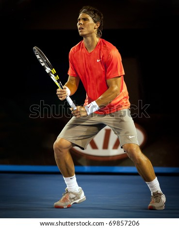 MELBOURNE - JANUARY 26: Rafael Nadal of Spain in his quarter final loss to David Ferrer of Spain  in the 2011 Australian Open on January 26, 2011 in Melbourne, Australia - stock photo