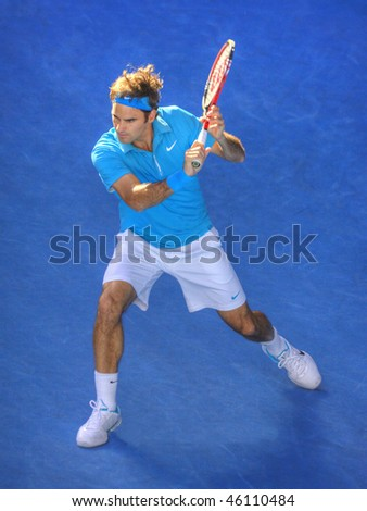 MELBOURNE - JANUARY 27: Roger Federer on his way to the 2010 Australian Open title on January 27, 2010 in Melbourne - stock photo