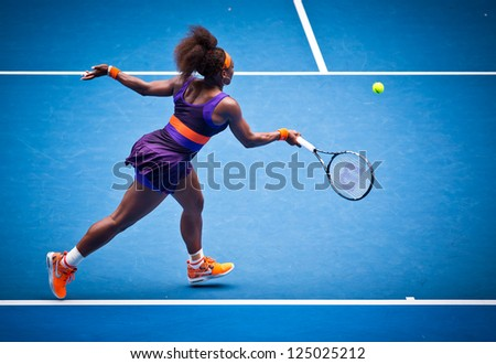MELBOURNE - JANUARY 17: Serena Williams of the USA in her second round win over Garbine Muguruza of Spain at the 2013 Australian Open on January 17, 2013 in Melbourne, Australia.