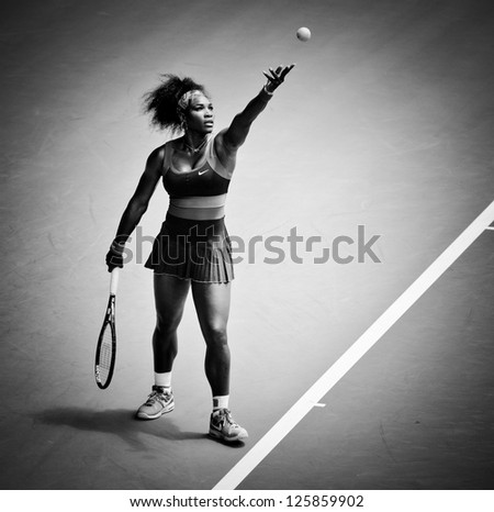 MELBOURNE - JANUARY 23: Serena Williams of USA in her quarter final loss to Sloane Stephens of USA at the 2013 Australian Open on January 23, 2013 in Melbourne, Australia. - stock photo