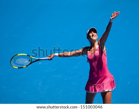 MELBOURNE - JANUARY 23: Victoria Azarenka of Belarus in her fourth round Loss to Li Na of Chinaa in the 2011 Australian Open on January 23, 2011 in Melbourne, Australia - stock photo