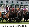 MELBOURNE - MARCH 13: Horses jump from the starting stalls in the Roy Higgins Quality, won by Elmore at Flemington on March 13, 2010 - Melbourne, Australia. - stock photo