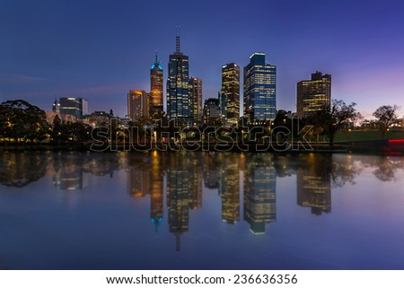 Melbourne 15 May 2014 : Melbourne city waterfront still reflection in Yarra river sunrise