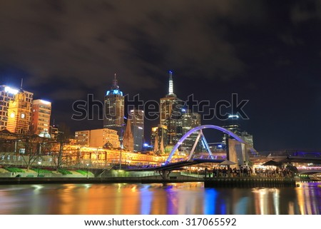 Melbourne night cityscape and Yarra river.