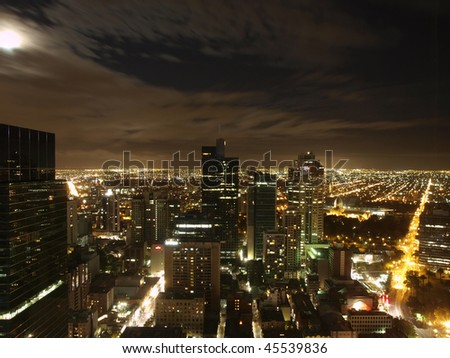 melbourne night skyline - stock photo