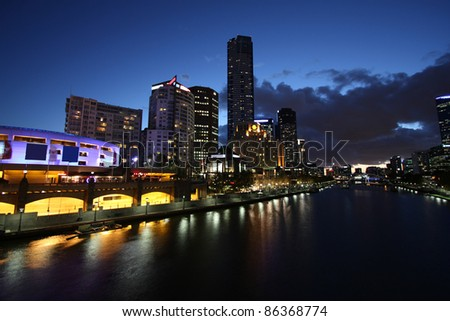 Melbourne night view. Beautiful city of skyscrapers. Yarra River skyline. - stock photo