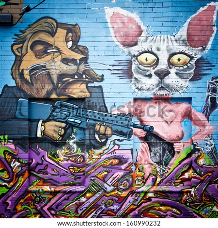 MELBOURNE - OCT 25: Street art by unidentified artist. Melbourne's graffiti management plan recognises the importance of street art in a vibrant urban culture - Oct 25, 2013 in Melbourne, Australia - stock photo