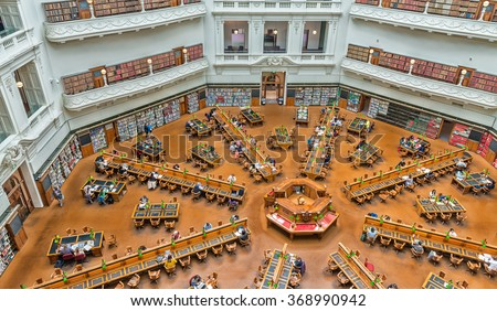 MELBOURNE - OCTOBER 9, 2015: La Trobe reading room at the State Library of Victoria in Melbourne. The library holds over 2 million books. It is the central library of the state of Victoria, Australia - stock photo
