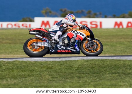 MELBOURNE - OCTOBER 4: Nicky Hayden at the MotoGP race on October 4, 2008 on Phillip Island, Melbourne Australia. - stock photo