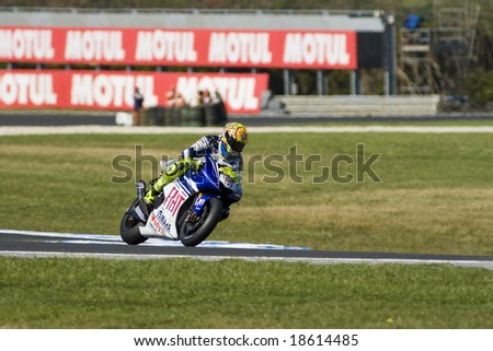 MELBOURNE - OCTOBER 4: Valentino Rossi at the MotoGP race on October 4, 2008, Phillip Island, Melbourne Australia. - stock photo