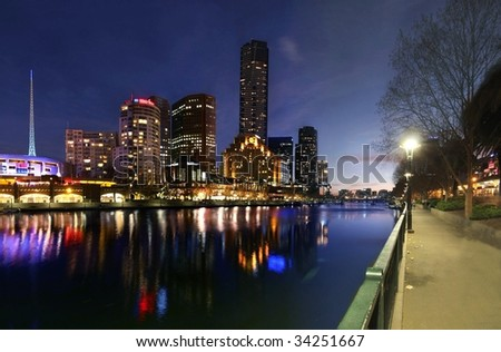 Melbourne's Southbank and Yarra River by Night - stock photo