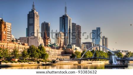 Melbourne skyline - stock photo