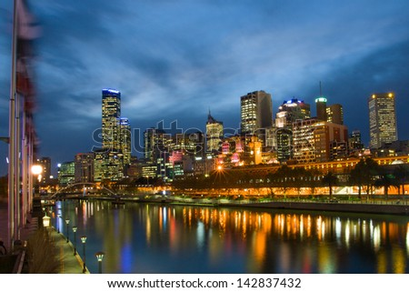 Melbourne skyline along the Yarra River at dusk - stock photo
