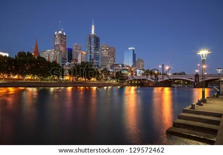 Melbourne skyline from Southbank - stock photo