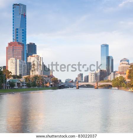 Melbourne skyline looking towards Princes Bridge - stock photo