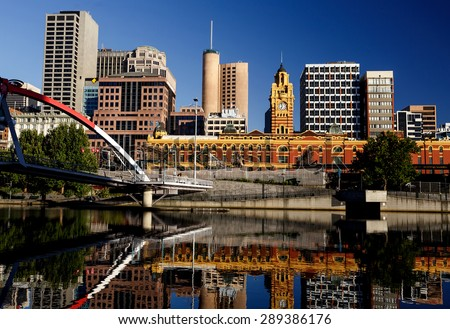 Melbourne skyline taken from Yarra river, Victoria, Australia - stock photo