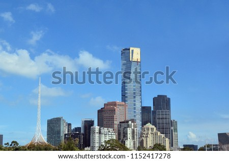 Melbourne Southbank skyline in a daylight under blue sky in Victoria, Australia. Copy space