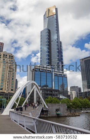 Melbourne , Victoria, Australia - November , 2014 : The Eureka 88 Tower on southbank of Yarra River , the tallest tower in Melbourne.
