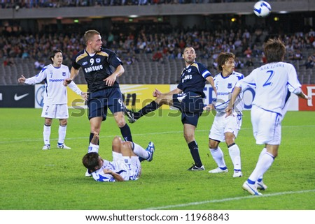 Melbourne Victory FC vs Gamba Osaka - Telstra Dome, 9th April '08 (#9 ALLSOPP, Daniel #2 MUSCAT, Kevin) - stock photo