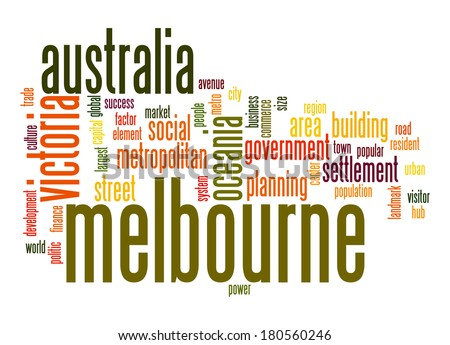 Melbourne word cloud - stock photo