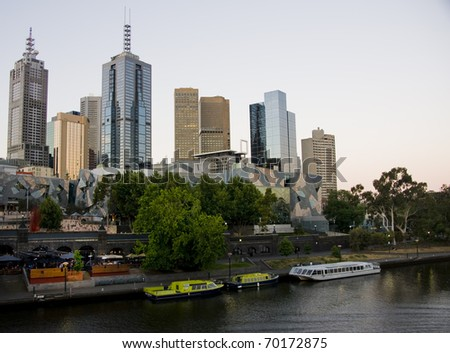 Melbourne yarra river afternoon - stock photo
