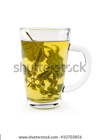 Melissa dry leaves tea in glass cup on the white background. Melissa decoction.